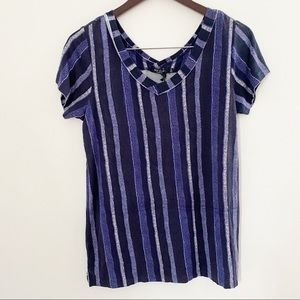 NWT Max Jeans Blue Striped V-neck Short Sleeve Top